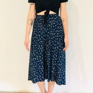 Vintage Navy and Floral Skirt